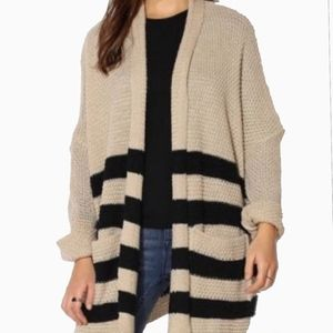 BDG | BEIGE AND BLACK KNIT STRIPED CARDIGAN